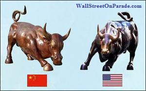 Shanghais-Bull-Statue-on-Its-Bund-Waterfront-left-Bull-Statue-in-Lower-Manhattan-right